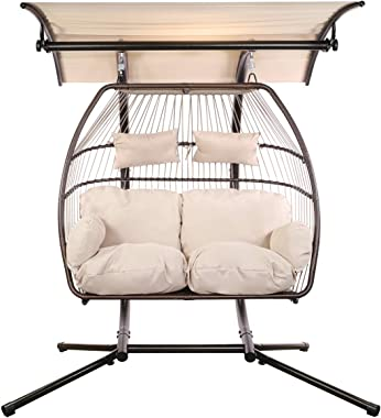 Barton Luxury 2 Person X-Large Double Swing Chair Wicker Hanging Egg Chair ((2 Person)), w/Adjustable Canopy - Beige