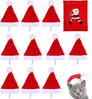 Beiabang 10 Pcs Dog Cat Pet Santa Hat Christmas Pet Costumes Santa Hat Pet Christmas Photo Props with a Christmas Drawstring Gift Bag for Puppy Kitten Small Cats Dogs