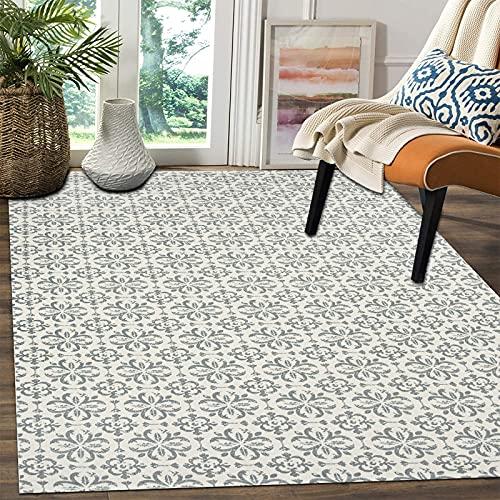 SHACOS Baumwollteppich Grau Groß 90x150 cm Wohnzimmer Teppich Grün groß Teppich Waschbar Gewebt Baumwolle Retro Vintage Teppiche für Wohnzimmer Schlafzimmer