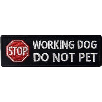 Glow In Dark Service Dog Do Not Pet Vests//Harnesses Patch Embroidered Badge Fastener Hook /& Loop Emblem