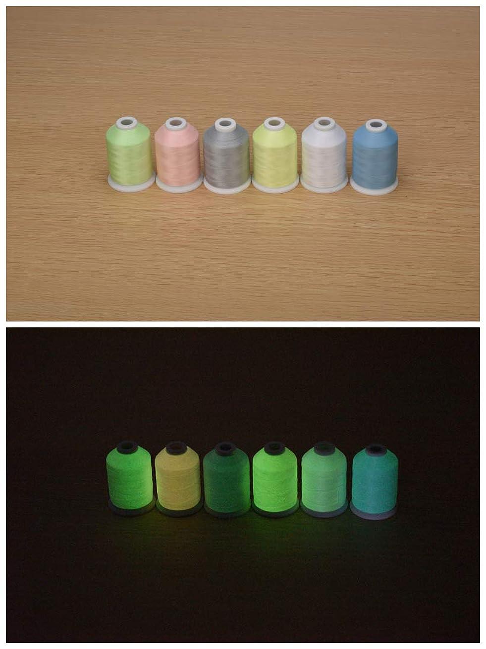 Simthread Embroidery Machine Thread 6 Colors Glow in The Dark Thread (1000Y)