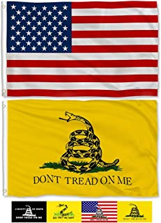 Aisto 2 Pieces 3x5 Feet Don't Tread On Me Gadsden Flag and American USA Flag Made by 100% Polyester – Vivid Color and UV Fade Resident