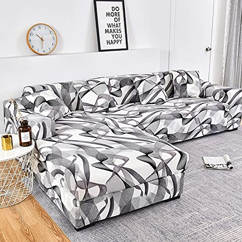 WXQY Funda de sofá elástica en Forma de L Funda de sofá elástica de algodón para Sala de Estar Funda de sofá a Prueba de Polvo Completa Funda de sillón A16 4 plazas