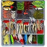 Bluenet 129pcs Fishing Lure Set Including Plastic Soft Lures Frog Lures Spoon Lures Hard Lures Popper Crank Rattlin Trout Bass Salmon and More