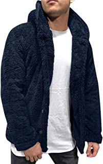 Mens Fleece Hoodie Coat Sherpa Lined Thermal Jackets Warm Thick Flannel Cardigan Sweatshirts with Hood