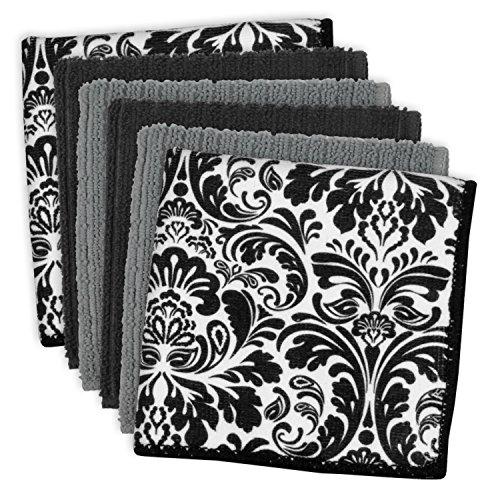 DII Set de 6 paños de cocina de microfibra ultra absorbente para limpieza, lavado, secado, 30.5 x 30.5 cm, color negro