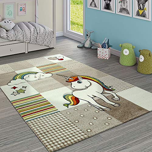 Paco Home Alfombra Infantil Habitación Cuadros Unicornio Arcoíris Beige Crema, tamaño:120x170 cm
