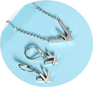 b0b043a187c Daesar Conjuntos de Joyas para Mujer Doble Letra V Conjunto Mujer 2 Piezas Collar  Pendientes Oro