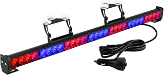 YITAMOTOR 30 Inch Red Blue Emergency Warning Traffic Advisor Strobe Light Bar, 28 LED Directional Police Light Bar with Suction Cups (12V-24V, Red/Blue)