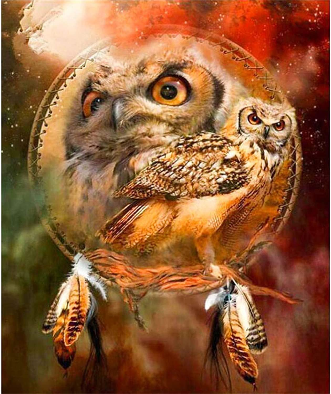 DIY Oil Paint by Number Kit for Adults Beginner 16x20 Inch - Owl,Drawing with Brushes Living Room Decor Decorations Gifts (Framed)