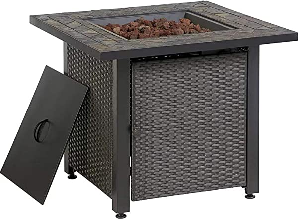 Endless Summer 30 In W 50000 BTU Grey Tabletop Steel Propane Gas Fire Table