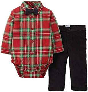 Infant Boys Red Plaid Holiday Outfit with Black Bow Tie
