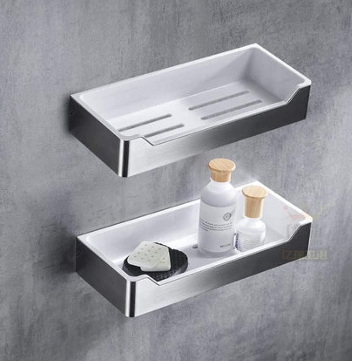EQEQ 304 Stainless Steel Storage Basket Rectangular Bathroom Shelving to The Wall Corner Stand Assemblies, 2