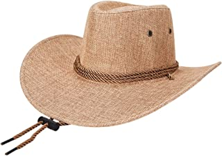 af903696 EachEver Mens Western Wide Brim Cowboy Hat Linen Beach Sun Cap with  Adjustable Strap