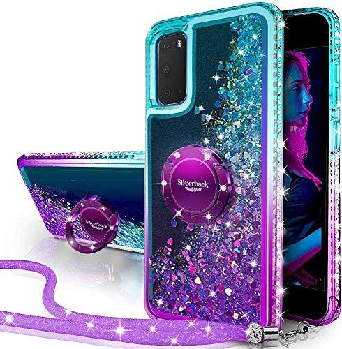 Miss Arts Galaxy S20 Ultra Hülle, [Silverback] Mädchen Glitzern Handyhülle hülle mit Ringständer, Cover Silikon Flüssigkeit Clear Schutzhülle für Samsung Galaxy S20 Ultra 5G -LILA
