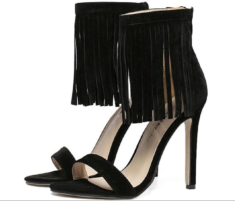 Women Sandals Sexy Suede Fringed Tassel Buckle 11cm Utra High-heeled Sandals Women Summer shoes