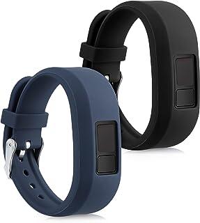 kwmobile Pulsera Compatible con Garmin Vivofit 3 Talla S - Brazalete de Silicona y TPU - Negro/Azul Oscuro