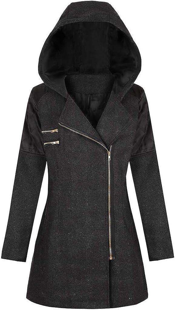 OIKAY Winter Outwear Hooded Zipper Mantel Damen Warm Slim Jacke Dicke Parka Mantel Jacke Yb Schwarz