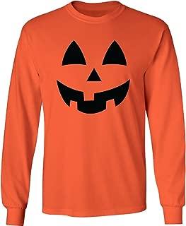 Adult Jack-O-Lantern Halloween Pumpkin Face Long Sleeve T-Shirt in Orange
