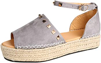 Loosebee◕‿◕ Womens Espadrilles Platform Sandals Ankle Strap Peep Toe Shoes Wedge Ankle Strap Studded Open Toe Sandals