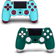 2 Pack Wireless Controller for PS4 - AGAMEPAD Remote Joystick for Sony Playstation 4 with Charging Cable (Alpine Green + Berry Blue, New Model
