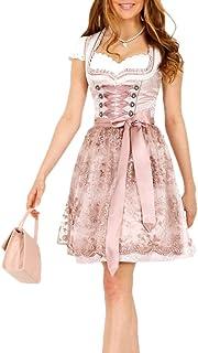 Krüger Dirndl Nalia 46685 50er Länge Rose rosa Perlen-Schürze