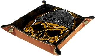 Boîte de rangement en cuir PU carré plateau pour jeux de table de dés de jeux de clés, porte-monnaie, plateau de bureau, b...