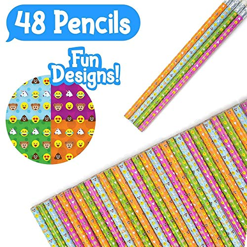 48 Novelty Emoji Smiley Face Two Pencils - Durable Wood and Lead - Awesome Back-To-School Presents, Classroom Rewards, and Kids Party Favors - Won't Snap or Peel - Popular With Kids