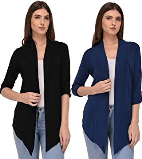 Espresso Women's 100% Viscose Waterfall Shrugs with Button Foldable Sleeve - Pack of 2