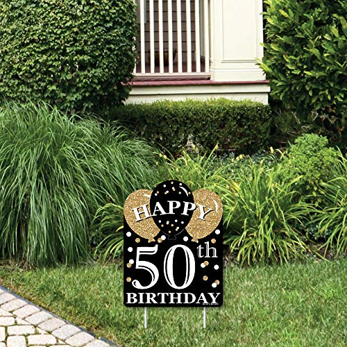 Big Dot of Happiness Adult 50th Birthday - Gold - Outdoor Lawn Sign - Birthday Party Yard Sign - 1 Piece