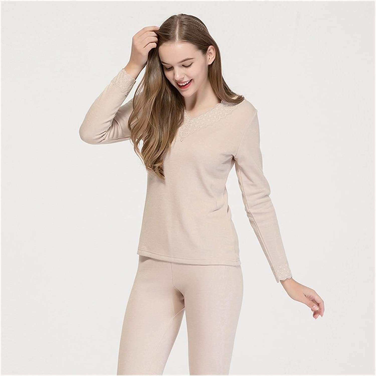 Glqwe Real Silk Pull-Down Thermal Underwear Set Women's Mulberry Silk Knitted V-Neck Plus Thick Pajamas for Women (Color : Beige, Size : Medium)