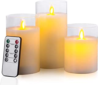 Aku Tonpa Flameless Candles Battery Operated Pillar Flickering LED Glass Candle Gift Sets with Remote Control Timer for Wedding,  Birthday,  Mother's Day,  Halloween,  Thanksgiving,  Christmas Decorations
