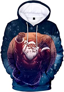 Stoota Men's 3D Print Christmas Sweatshirt Outwear, Regular Fit Casual Sports Pullover Novelty Elk Santa Claus Hoodies