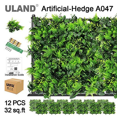 """Uland Planta de setos Artificiales, Plástico Césped Falso Planta Verde Cobertura, Decoración De La Cerca Privacidad del Jardín, 12 Piezas De 20\""""x 20\"""" A047"""