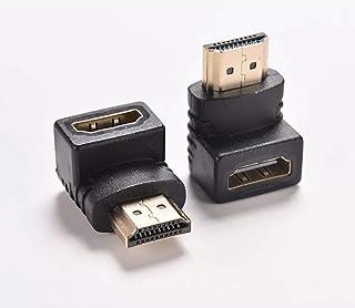 محول HDMI مطلي بالذهب بزاوية قائمة 90 أو 270 درجة من نوع ذكر إلى أنثى