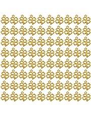 AUEAR، 100 حزمة مطلية بالذهب أربع أوراق البرسيم سحر محظوظ سحر المعلقات لأساور قلادة صنع المجوهرات النتائج الحرف اليدوية