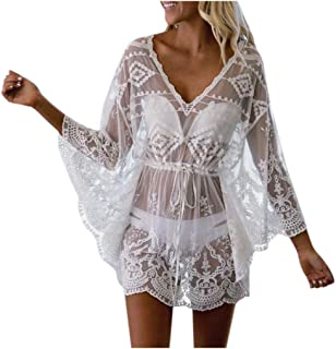 Women Beach Dress Cover Up, Ladies Solid Lace up Mesh Bikini Cover Up Holiday Beach Dress
