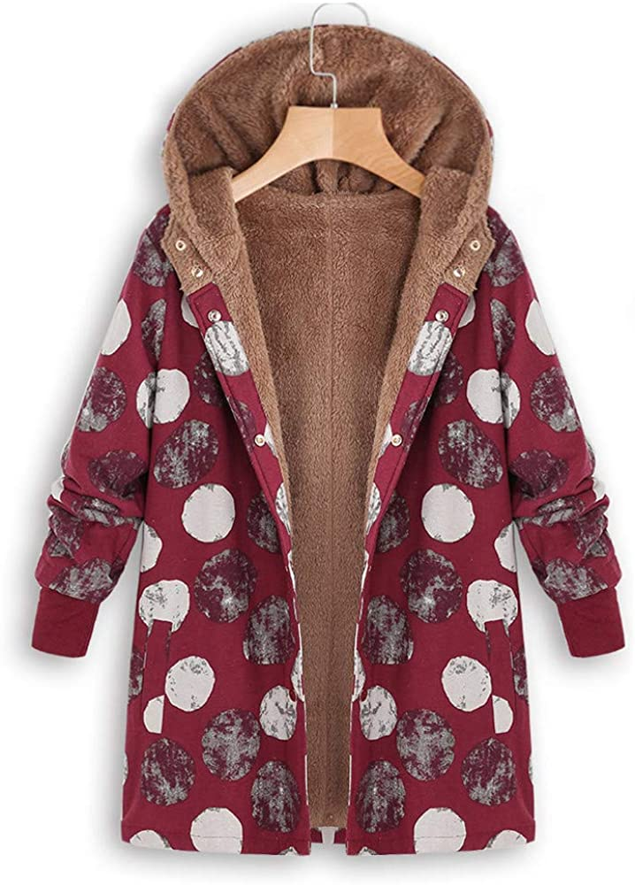 VEMOW Winter Herbst Damen Plus Größe Warm Winterjacke Jacke Mantel Kapuzenjacke Langarm Mit Fellkapuze Vintage Casual Steppjacke Wintermantel X4-rot