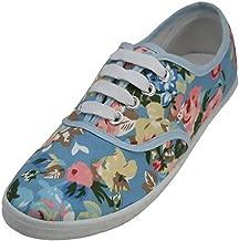 Light Blue Floral Print Canvas Sneaker Lace Up Plimsoll Tennis Shoes