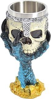 Kelk wijnkelk schedel met griezelige drakenklauw, van kunsthars met roestvrijstalen inzet 330 ml - 17 cm hoog, 7 cm breed...