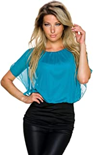 Fashion Trends24 Top Bluse Shirt Tunika Partytop Lagenlook Minikleid Chiffon 36-38