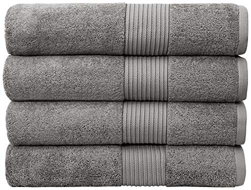 Bliss Luxury Bath Towels Set - 34' x 56' Extra Large Premium Quality Bath Sheet - 650 GSM - Soft Combed Cotton, Absorbent (Grey, 4 Pack)
