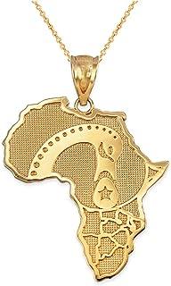 14K Yellow Gold Africa Map Adinkra Sankofa Pendant Necklace
