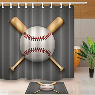 NYMB Sports Decor Shower Curtain for Bathroom, Baseball Leather Ball and Wooden Bats, 69X70in Polyester Fabric Curtains Set with 15.7x23.6in Flannel Non-Slip Floor Doormat Entrance Mats