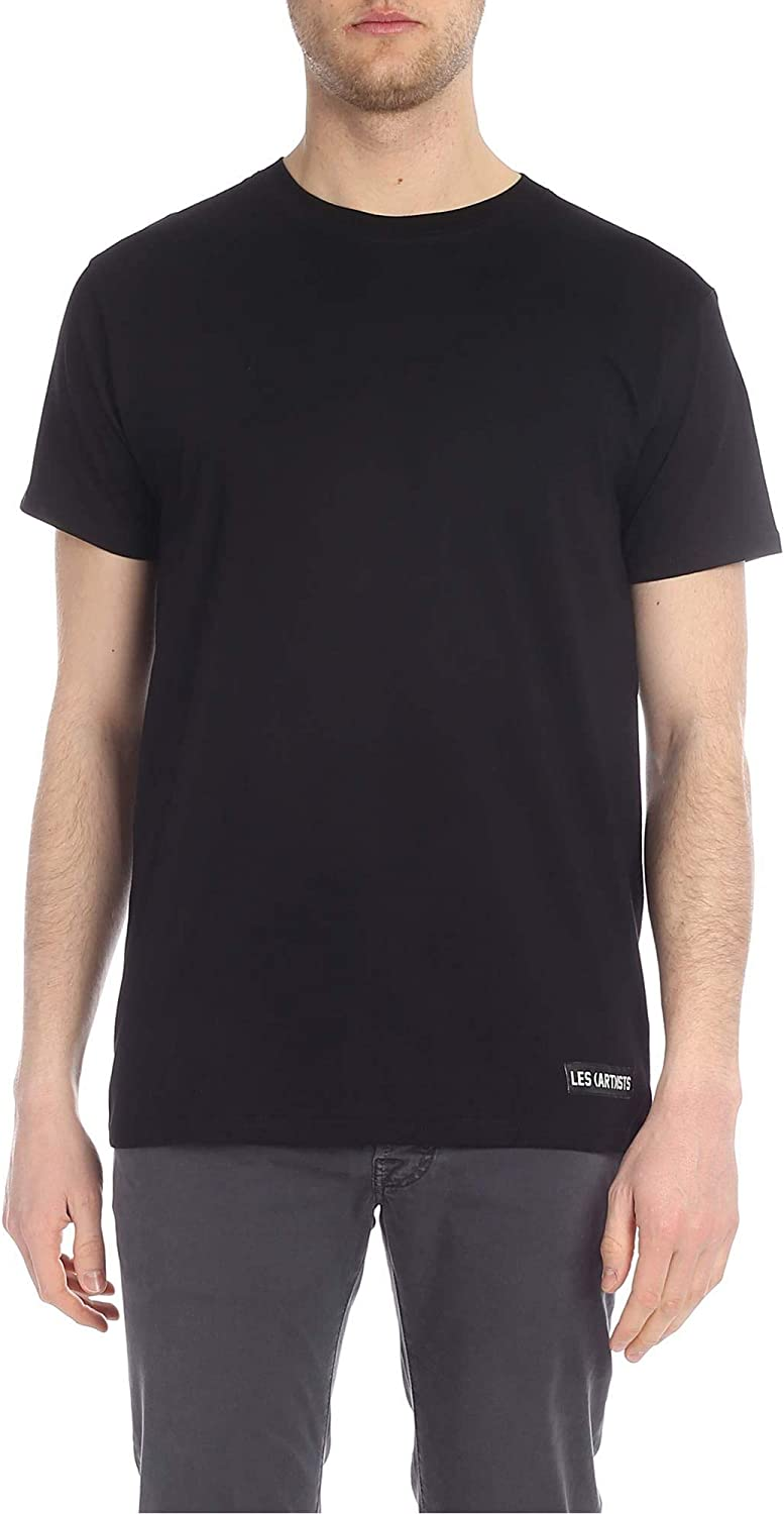 LES (ART)ISTS Men's LA08TEE1003BK Black Cotton TShirt