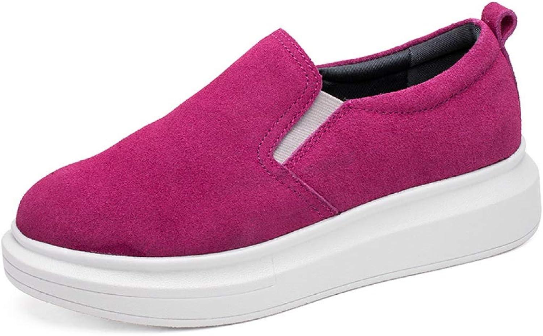 DETAIWIN Women Casual Round Toe Loafers Flat shoes Comfort Flock Slip On Ladies Hidden Wedge Platform Sneakers