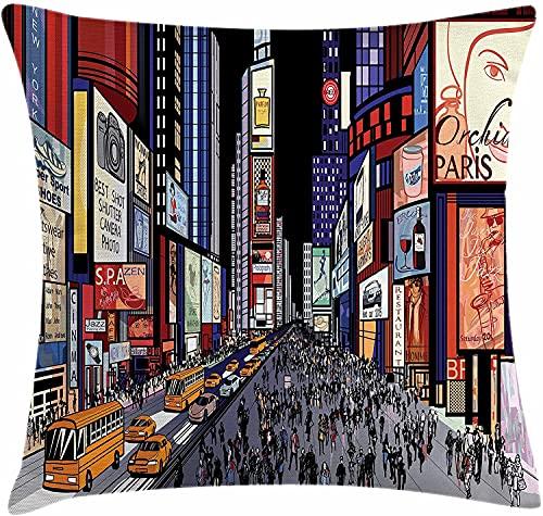 Cities of States Throw Pillow Cojín, Colorida ilustración del Centro de Nueva York con cómic al Estilo Broadway, Funda de Almohada Decorativa Cuadrada, 45x45 Negro Suave