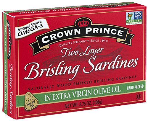 Crown Prince Two Layer Brisling Sardines in Extra Virgin Olive Oil, 3.75-Ounce Cans (Pack of 12)