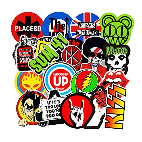 Rock Band Stickers for Laptop 100Pcs, Waterproof Vinyl Punk Classic Graffiti Decals for Guitar Car Bumper Hydro Flask Bass Drum Skateboard Bicycle Motorcycle Luggage Case, Rock N Roll Music Sticker