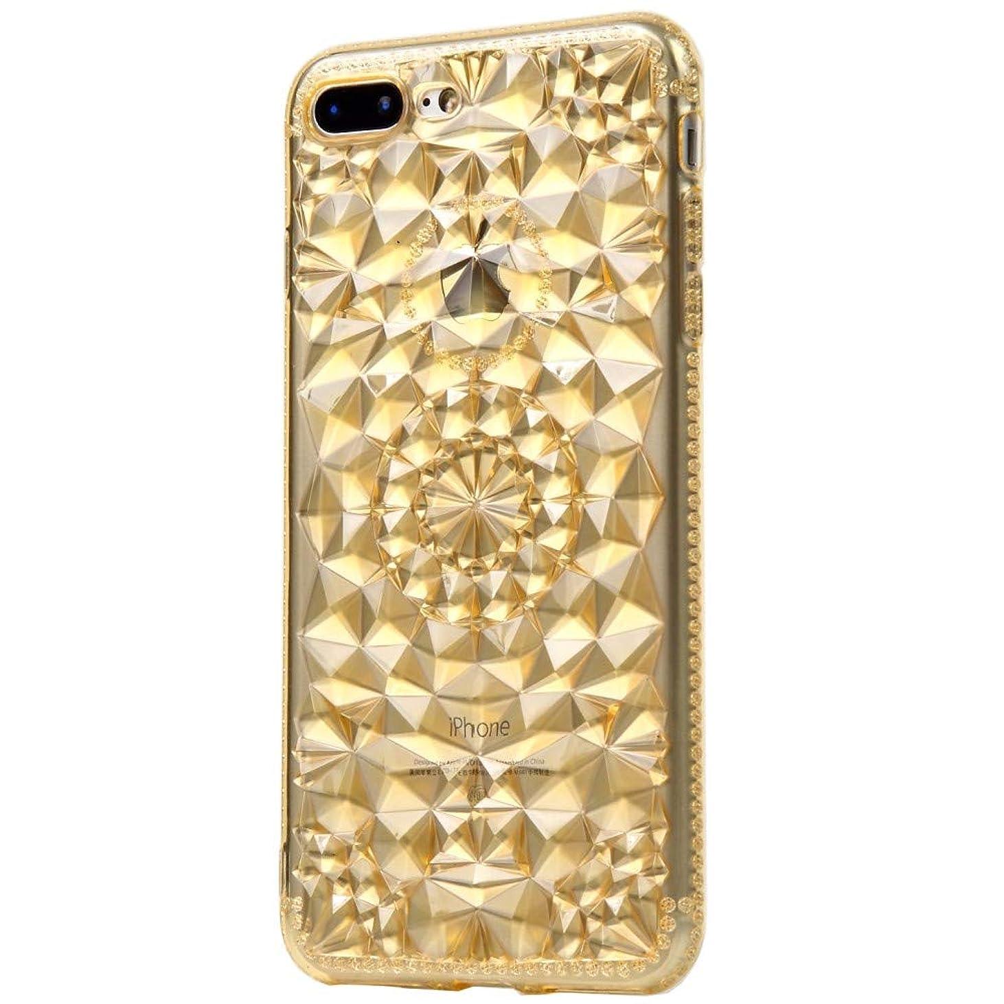 流すのれん囲いiphone7 plus iphone8plus ケース おしゃれ クリア キラキラ シースルー あいふぉん7 カバー あいふぉん8 シリコン TPU プラス かわいい 金 ゴールド amo3013
